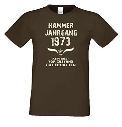 Geburtstagsgeschenk T-Shirt Männer Geschenk zum 44 .Geburtstag Hammer Jahrgang 1973 - auch in Übergrößen - Freizeitshirt Herren Farbe: braun Braun