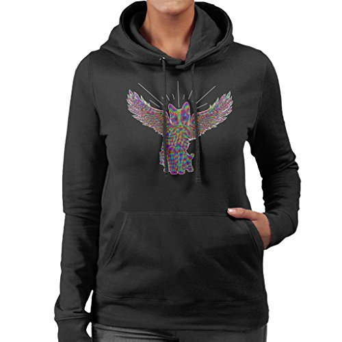 Rainbow Cat Angel Wings Sketch Women's Hooded Sweatshirt (Angel Wings Hooded Sweatshirt)