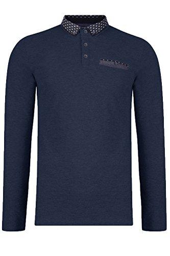 Threadbare Herren Wembley Polo langärmeliges T-Shirt weiche Baumwolle Kragen Pulli Marineblau