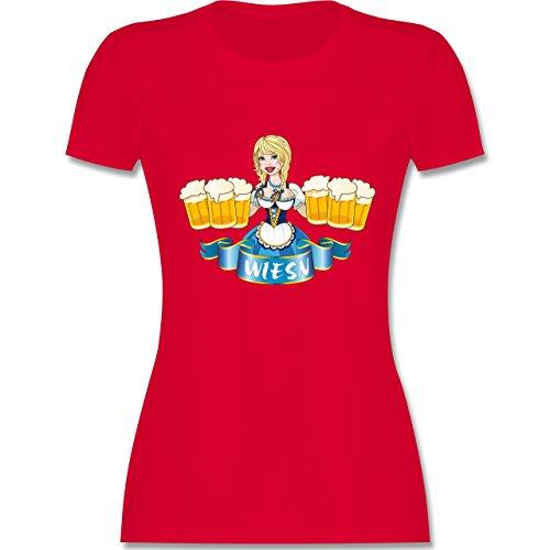 Oktoberfest Damen - Wiesn Madl Bierkrüge - tailliertes Premium T-Shirt mit Rundhalsausschnitt für Damen Rot