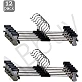 ABbuy® Stainless Steel Hangers | Pack of 12 | Metal Adjustable Non Slip Clips | Space Saving Swivel Hook | Cloths Pants Skirt