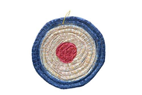 Arrowforge - Strohzielscheibe mit Schlaufe, Durchmesser 65 cm, 6 cm dick -Zweifarbig Blau-Rot