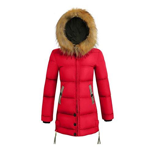 ESAILQ Femmes dhiver Vestes Chaudes Longueur Manteau Parka à Capuche en Fausse Fourrure épaisse Veste en Duvet Plus la Taille Rouge