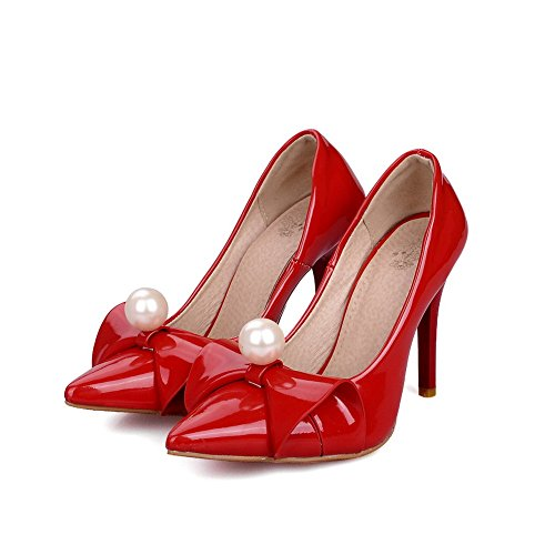 VogueZone009 Femme Pointu Stylet Couleur Unie Tire Chaussures Légeres Rouge