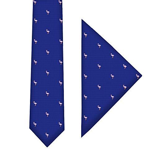 Conjunto corbata estrecha & pañuelo de bolsillo navy con flamencos rosa | 5 años de garantía | Regalos para hombres | Corbatas de boda