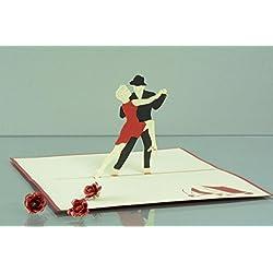 Sport 3-D Pop Up Grußkarte Geburtstag Handmade Hobby Tanzpaar Tänzer 10x17cm