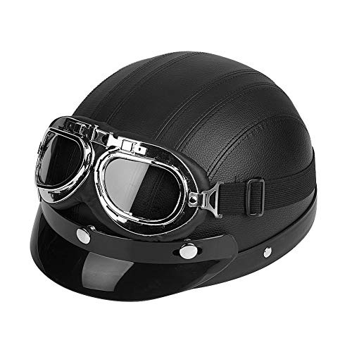 Estink Motorrad-Halb offener Helm, Scooter Schutz Shell Offen Helm Motorradhelm Leder Offener Helm mit Visier Schutzbrillen, 54-60cm (Schwarz)