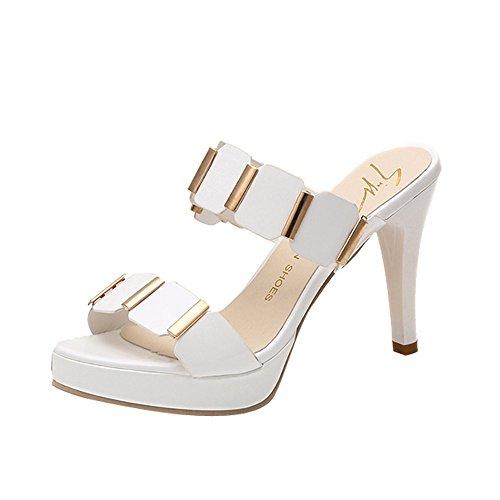 Cinnamou Zapatos de Tacón Alto,Sandalias de Mujer Sandalias Chancletas para Mujer Sandalias de Señoras Sandalias y Zapatos de Mujer Sandalias de Diapositivas Sandalia (34 EU, Blanco)
