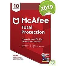 McAfee Total Protection 2019 - Antivirus, PC/Mac/Android/Smartphones, 10 Dispositivos, Suscripción de 1 año