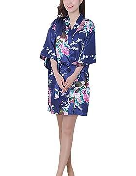 Sponsorizzato Asskyus Camicia da notte a maniche corte Kimono Robe 9bb4d54ab91
