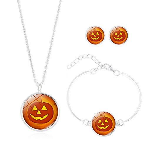d Silber 925 Für Damen 3PCS / Set Halloween Collection Zeit Edelstein Cabochon Halskette Mit Ohrstecker Armband (C) ()