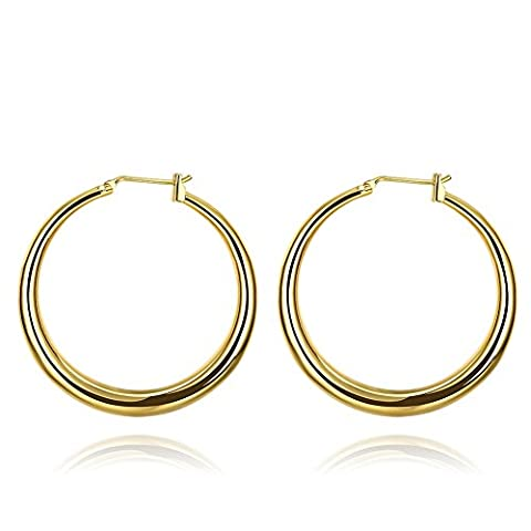 FJYOURIA Women's Charm Casual Round Hoop Earrings 18k Gold Plated Ziron Circle Sleepers Earrings (18ct Yellow Gold)