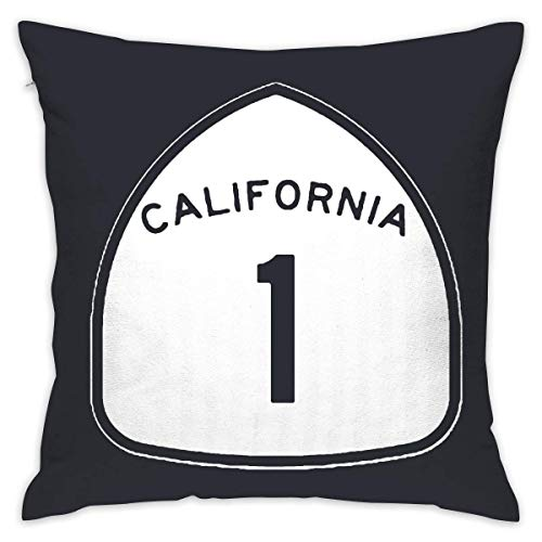California State Highway Route 1 101 Scenic Sign Soft Throw Pillow Cover Cases for Chair 18 X 18 Inches