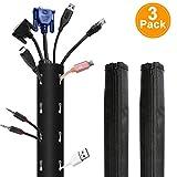 Gifort 3 Stücke Kabelschlauch, Flexibel Neopren Kabelschutz(1x150cm), Kabelschlauch Kabelkanal Reiβverschluss (2x50 cm), Perfekt Neopren-Kabel für die TV Computer Management.