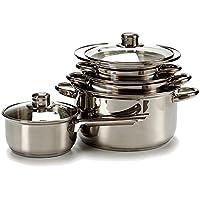 TU TENDENCIA ÚNICA Batería de cocina de acero inoxidable de 7 piezas apta para todas las