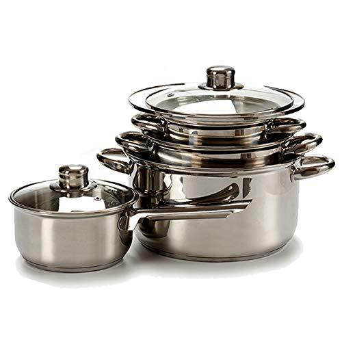 Il tuo tendenza unica batteria da cucina in acciaio inox da 7pezzi adatta per tutte le cucine. composta da 1casseruola e 3pentole con coperchio di vetro con foro per vapore