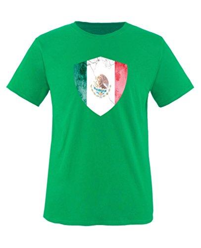 Comedy Shirts - Mexico Trikot - Wappen: Groß - Wunsch - Kinder T-Shirt - Grün/Weiss Gr. 134-146