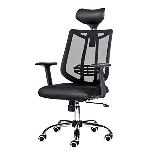 WNNY Office Chair Schreibtischstuhl Drehstuhl Ergonomische High-Back Mesh Executive Bürostühle Mit Verstellbarer Sitzhöhe, 360 Grad Drehbarer Computer-Stuhl, Schwarz (Farbe : Schwarz)