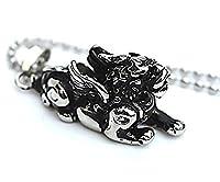 Epinki Stainless Steel Pendant Necklace, Mens Vintage Punk Rock Silver Black Brave Troops Necklace