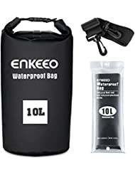 Enkeeo - Bolsa Seca Impermeable Mochila Estanca (10L, Material 500D PVC Grado Industrial, Para Gimnasio o Actividades Al Aire Libre y Acuáticas) Negro