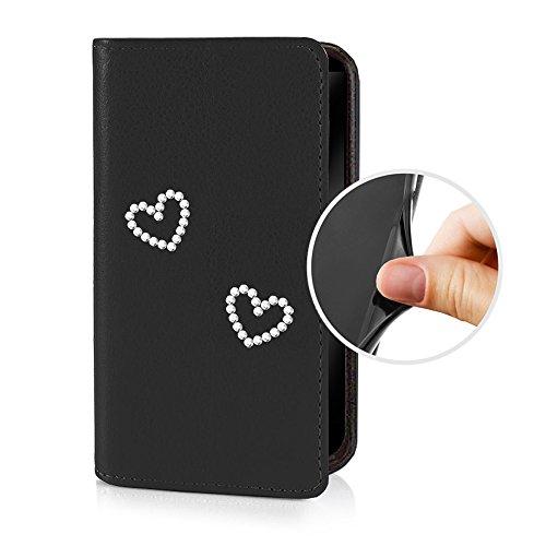 eSPee LG4H053 LG G4 Schutzhülle Wallet Flip Case Schwarz mit Strass Herz Herzen Silikon Bumper und Magnetverschluß für LG G4