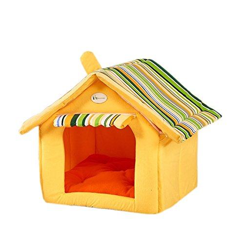 Mode Stripe Doux Maison Forme Chien Lit Chien Chenil Pet House pour Chiot Chiens Petit Moyen Animaux Accueil Rayé Amovible Couverture Produits Amovible (Color : Yellow, Taille : M:45 * 35cm)