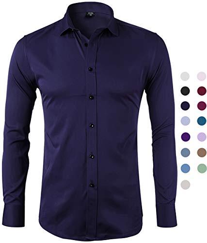 Camisa Bambú Fibra Hombre, Manga Larga, Slim Fit, Camisa Elástica Casual/Formal para Hombre, Azul Marino, 40 (Cuello 40CM, Pecho 104CM)