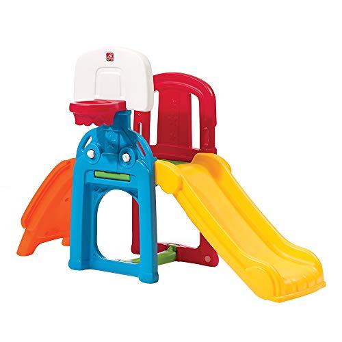 Step 2 Step2850300Game Time Kletterspielzeug, Rutschbahn mit Baseballkorb und Fußballtor (Kinder Activity Center Mit Rutsche)