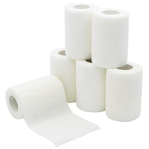6 Rollen Selbsthaftende Bandage, Wundverband, Sport Elastischer Verband, 7.5cm x 4.5m - Weiß