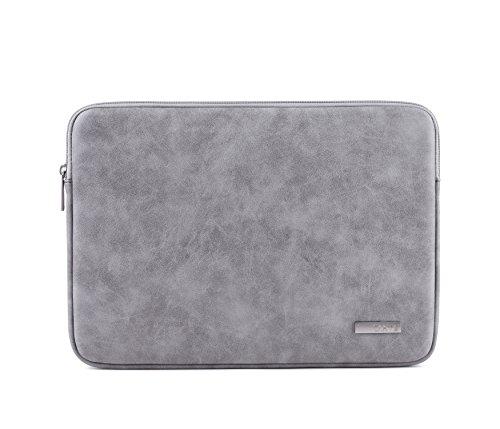 Housse Laptop Sleeve en cuir suède pour ordinateur portable 15.6 pouces Macbook pro 15 pouces, Gris Clair