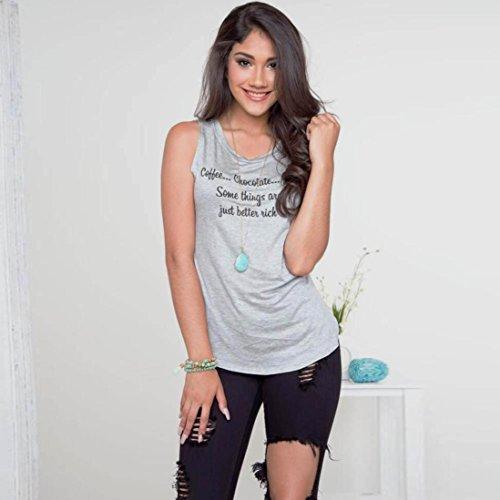 T-shirt femme d'été, Transer ® Fashion femmes Casual pull sans manches lâche T Shirt chemisier imprimé Gris