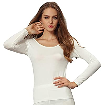 Liang Rou Women's Plain Basic Crew Neck Neck Stretch Long Sleeve Thin Thermal Top