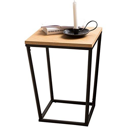 Wohning SKANDI Table d'appoint Design rétro en Bois de chêne DF 60 x 50 x 50 cm Table de Salon avec Structure métallique