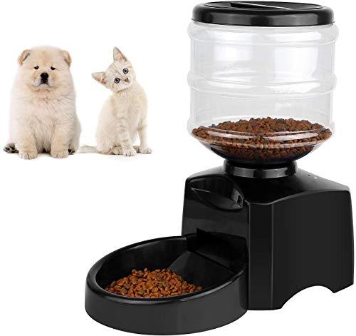 Kaura Alimentatore Automatico per Cani distributore Cibo Automatico per Cani Dispenser Cibo 5,5 Litri distributori Automatici per Gatti Animali Domestici,Nero
