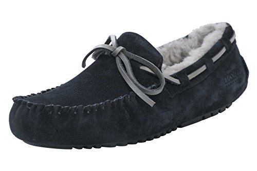 OZZEG Cuir basane flâneurs occasionnels mocassins Slip nouveaux hommes sur la conduite des chaussures Noir