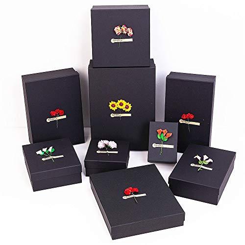 Satz von 9 Satz Rose Blume Dekoration Geschenkboxen mit Füllung und Geschenktüte Quadratische Form mit Deckeln für Kleidung Parfüm Schmuck Shirt Kosmetik Snackers Cookies für Geburtstage Urlaub Gradui