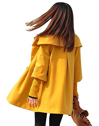 Melansay Frauen Prinzessin Wollmantel mit abnehmbaren Ärmeln Strick Gelb