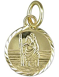Mens 9ct Gold Round Small Diamond Cut St Christopher Pendant On A Curb Necklace