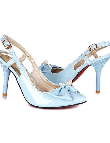 LFNLYX Pearl Heel Alta Faux pelle verniciata da donna Bowtie pompa Accent Altri colori Blue