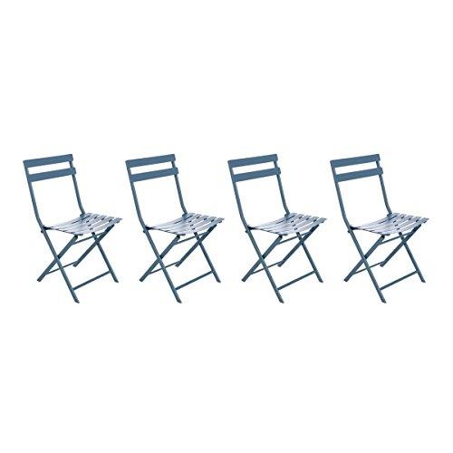 Lot de 4 chaises pliantes coloris bleu orage - Dim: 52 x 42 x 80 cm -PEGANE-