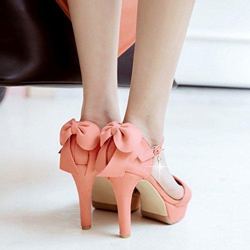 COOLCEPT Femme Mode Sangle De Cheville Sandales Bout Ouvert Plateforme Talon Bloc Chaussures Avec Bow Rose