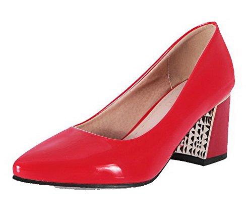 AgooLar Femme à Talon Correct Couleur Unie Tire Verni Pointu Chaussures Légeres Rouge