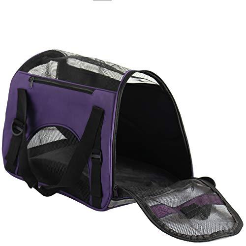 D4P Display4top Transporttasche für Katzen Hunde Comfort Fluggesellschaft zugelassen Travel Tote Weiche Seiten Tasche für Haustiere,46cm x 25cm x 28cm (lila)