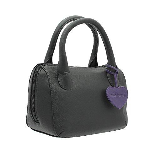 Borsa a mano Mala Leather ANISHKA Collection in pelle 774_75 Grigio Nero