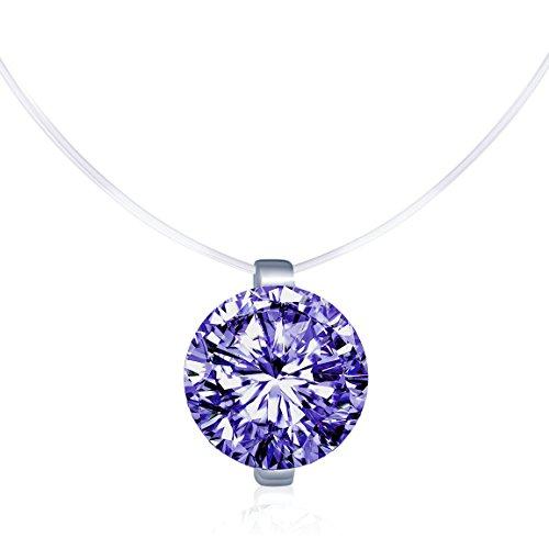 Solitär Kette 925 Sterling Silber Lila Zirkonia Damen Halskette Anhänger Transparente Angelleine Nylonkette ()