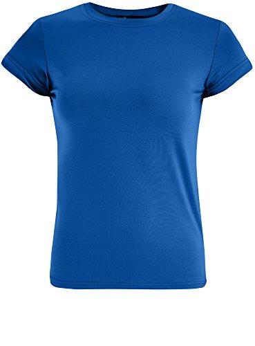 oodji Ultra Femme T-Shirt Coupe Droite à Col Rond, Bleu, FR 38 / S