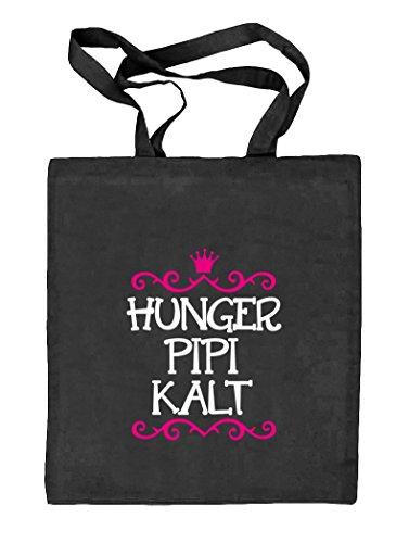 Shirtstreet24, Hunger Pipi Kalt, Prinzessin Natur Stoffbeutel Jute Tasche (ONE SIZE) schwarz natur