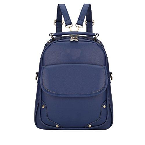 VALIN S805 Nouveau style PU Cuir Sacs portés dos,265×110×325(mm) Bleu
