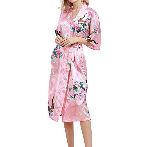 TIAQUE Damen Seide Satin Kimono Robe Blüte Pfau Nachtwäsche Sexy Long Gown Bademäntel Nachthemd Rot