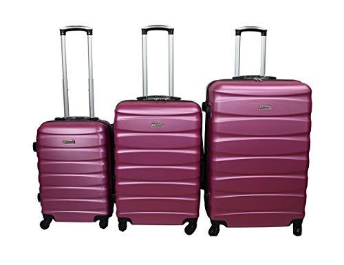 Dublin 2 set da 3 pezzi valige trolly in ABS e policarbonato con 4 ruote girevoli 360° gradi colori vari (FUXIA)